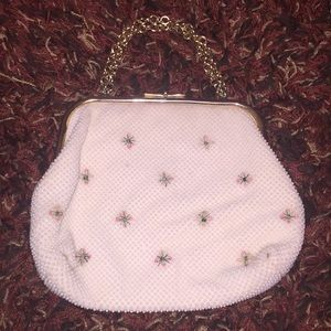 Beaded pink and white vintage purse with flowers
